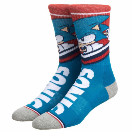 Sonic Blue and Red Athletic Crew Socks