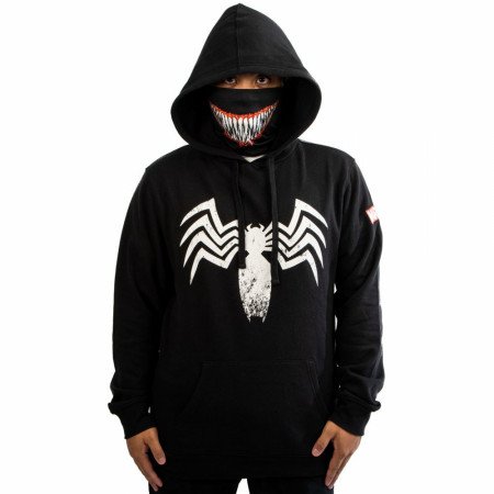 Marvel Venom Symbol Hoodie with Built-in Smile Face Mask Gaiter