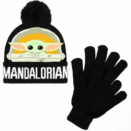 Star Wars The Mandalorian The Child Youth Cuff Pom Beanie & Gloves 2-Piece Winter Combo