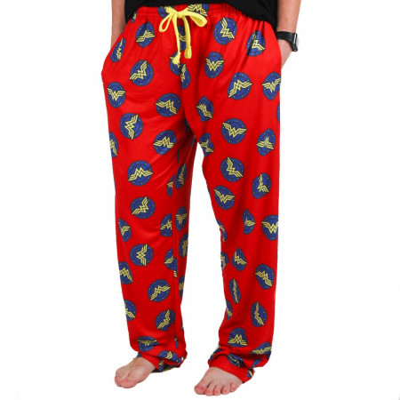 Wonder Woman Blue and Yellow Classic Logos All Over Unisex Pajama Pants
