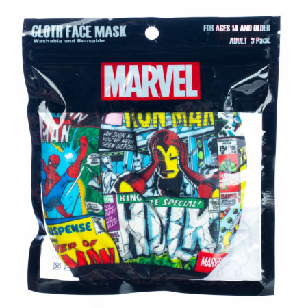 Marvel Comics and Brand 3-Pack of Reusable Adjustable Face Covers