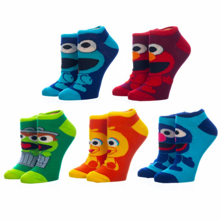 Sesame Street Chibi Characters 5-Pair Pack of Women's Ankle Socks