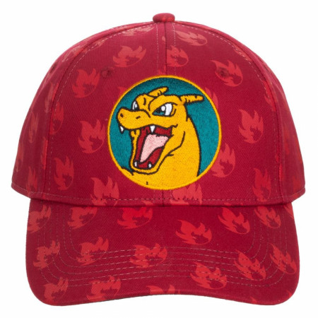 Pokemon Charizard Flames All Over Print Adjustable Snapback Hat