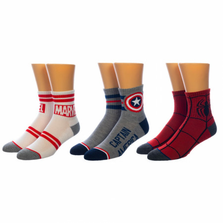 Marvel Captain America and Spider-Man Logo 3-Pair Pack of Quarter Crew Socks