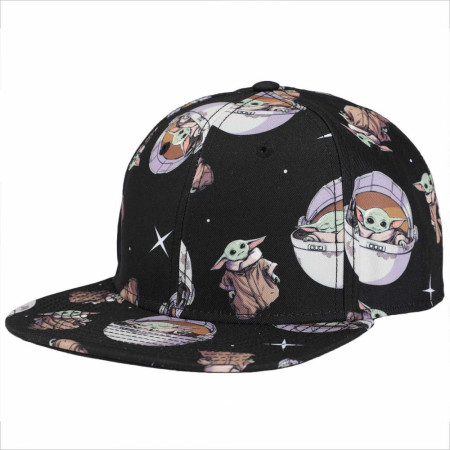 Star Wars The Mandalorian Grogu AOP Flat Bill Snapback