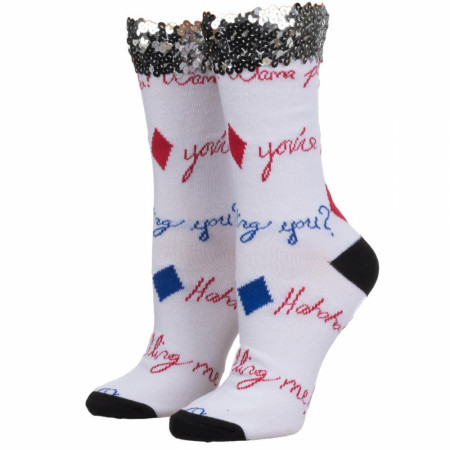 Birds of Prey Harley Quinn Sequin Cuff Crew Socks