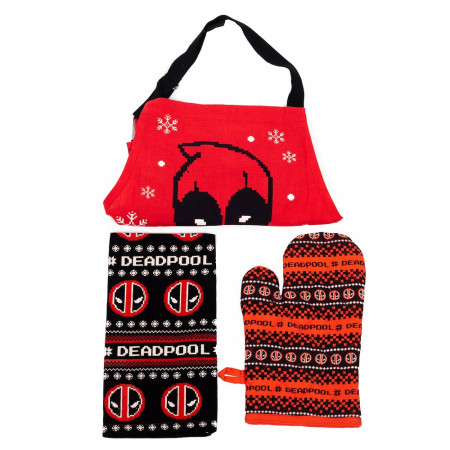 Marvel Deadpool Apron, Towel & Mitt 3-Piece Kitchen Set