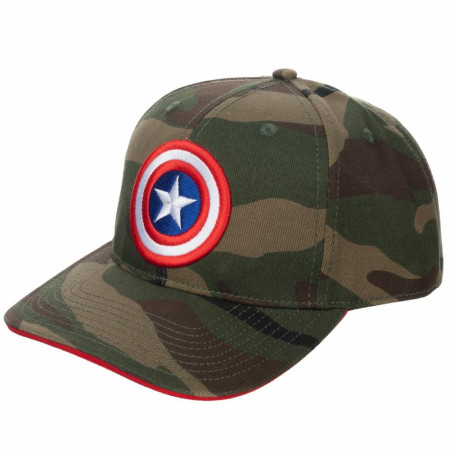 Captain America Camo Pre-Curved Bill Adjustable Snapback Hat