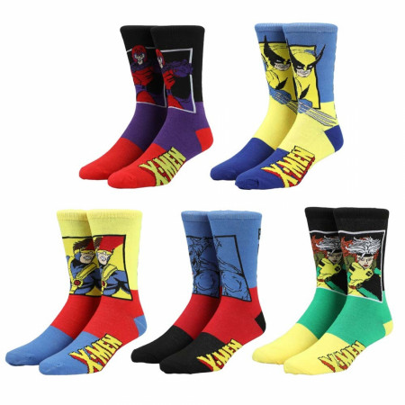 Marvel X-Men Characters Color Block 5-Pair Pack of Crew Socks