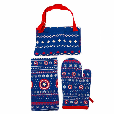 Marvel Captain America Apron, Towel & Mitt 3-Piece Kitchen Set