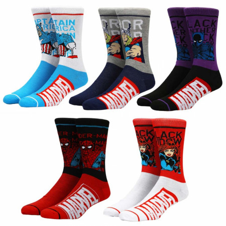 Marvel Classic Split Colorblock 5-Pair Pack of Crew Socks