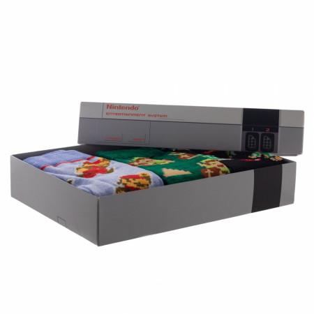 Nintendo Super Mario & Zelda 3-Pair Pack of Crew Socks Box Set