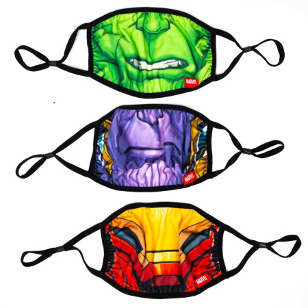 Marvel Avengers Big Face 3-Pack of Adjustable Reusable Face Covers