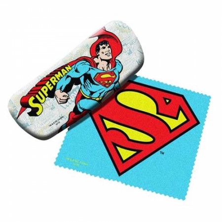 Superman Symbol and Character Glasses Case with Cleaning Cloth