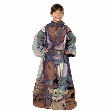 Star Wars The Mandalorian Costume Throw Youth Blanket With Sleeves