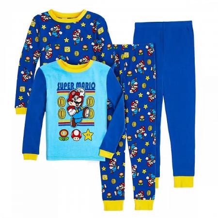 Nintendo Super Mario Jump Youth 4-Piece Long Sleeve Pajama Set