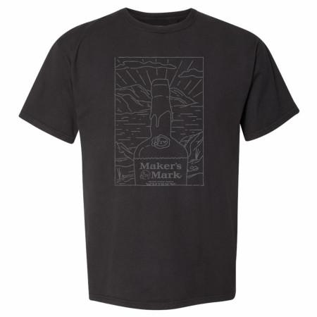 Makers Mark Whiskey Tonal Bottle Illustration T-shirt