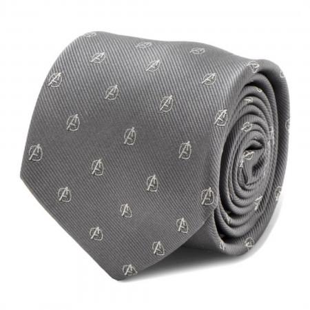 Avengers Logo Gray Mens Silk Tie
