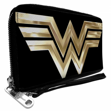 Wonder Woman 1984 Gold Logo Faux Leather Zip Around Wallet