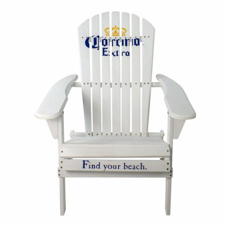 "Corona Extra 36"" Classic White Folding Wooden Adirondack Chair"