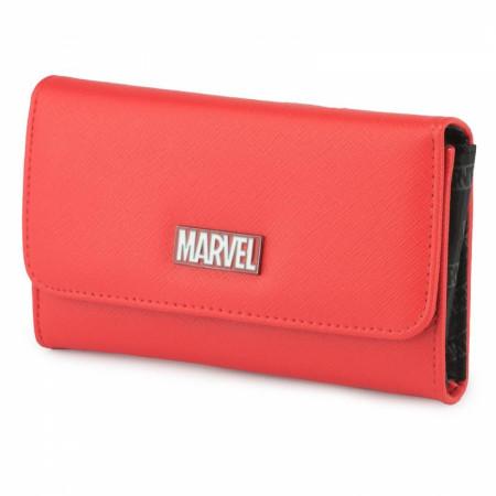 Marvel Brand Brick Metal Emblem Fold Over Saffiano Wallet