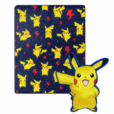 Pokemon Pikachu Lightning Zap 40 x 50 Silk Touch with Plush Hugger