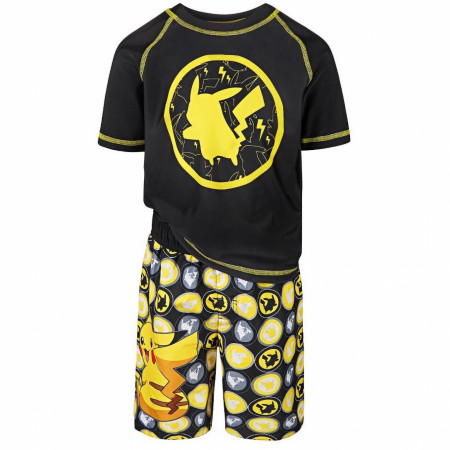 Pokemon Pikachu Youth Boys Rash Guard and Swim Trunks Set