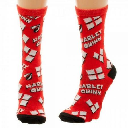 Harley Quinn Diamonds and Logo Women's Socks