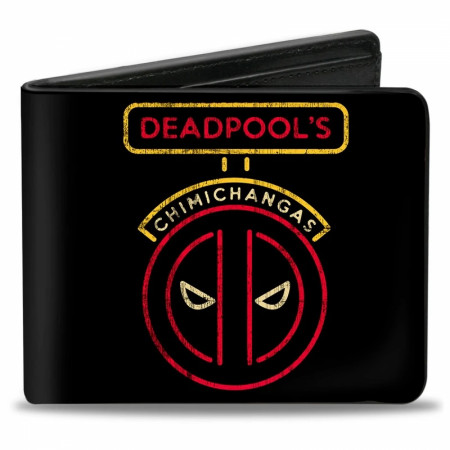 Deadpool Chimichangas Logo and Eating Men's Bi-Fold Wallet