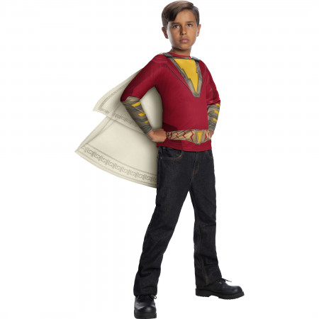 Shazam Costume Youth T-Shirt with Cape