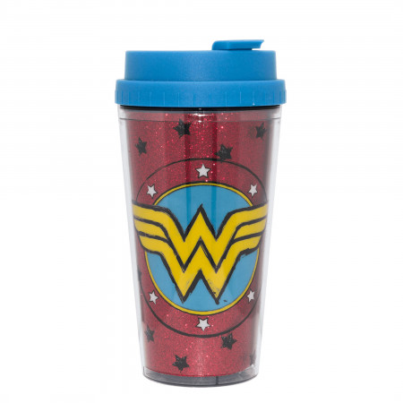 Wonder Woman Sketch Logo 16oz Double Wall Plastic Glitter Travel Mug