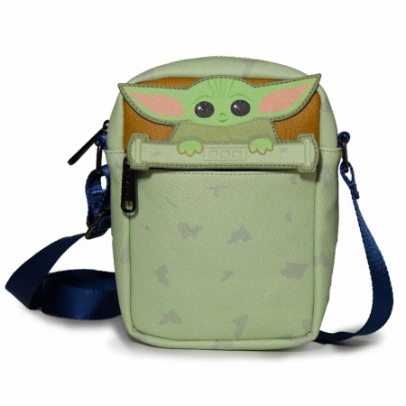 The Mandalorian The Child Peeking Crossbody Vegan Leather Bag