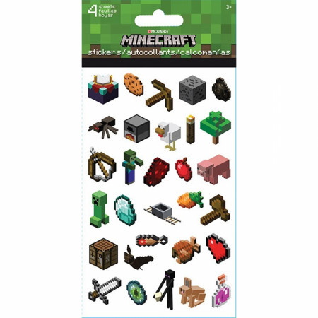 Minecraft Characters & Game Asset Stickers 4-Sheet Set