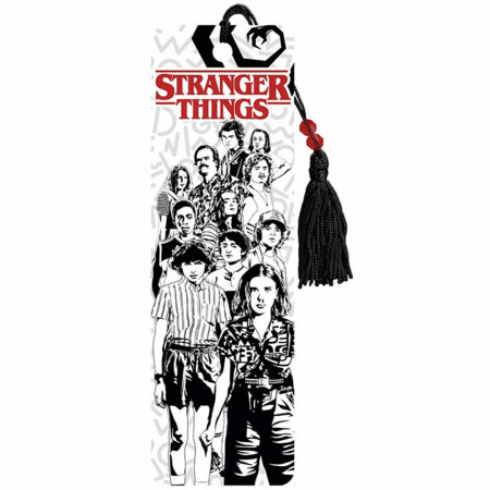 Stranger Things Characters Black and White Line Art Bookmark