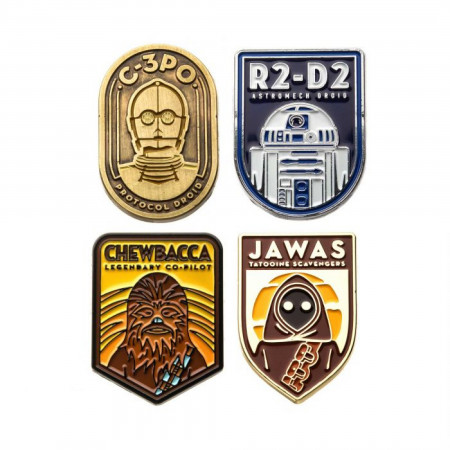 Star Wars R2-D2, C-3PO, Chewbacca, and Jawas Lapel Pin Set