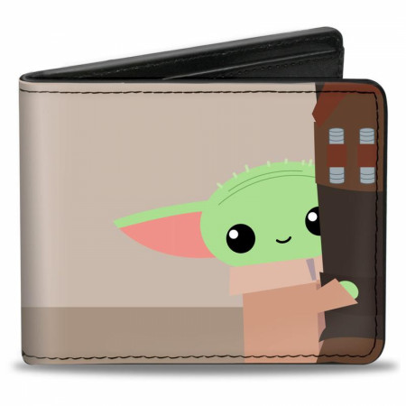 Star Wars The Mandalorian The Child Grogu Hiding Vegan Leather Wallet