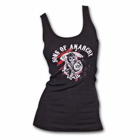 Sons Of Anarchy Black & Red Reaper Logo Women's Tank Top