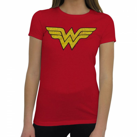 Wonder Woman Distressed Symbol T-Shirt for Women