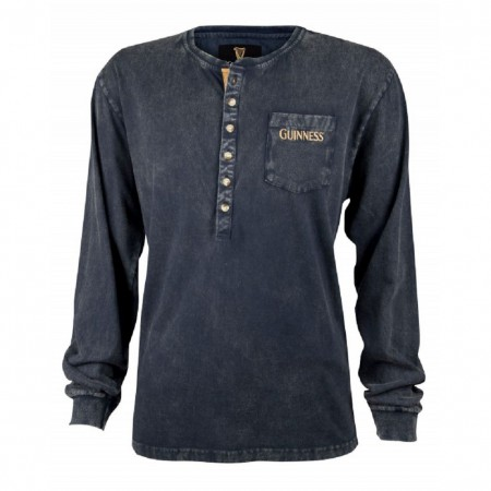 Guinness Beer Washed Men's Black Long Sleeve Henley