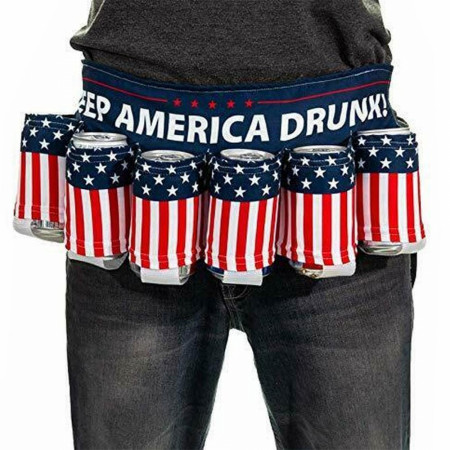 American Flag Keep America Drunk USA Beer Belt