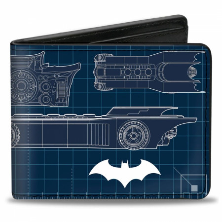 Batman Batmobile Blueprints Bi-Fold Wallet