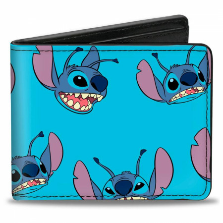 Disney Lilo and Stitch Expressions of Stitch Scattered Bi-Fold Wallet