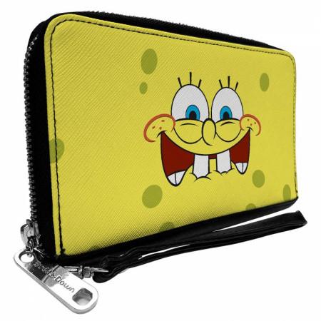 SpongeBob SquarePants Biting Lip Zip Around Rectangle Wallet