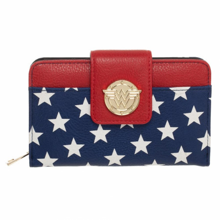Wonder Woman Symbol and Stars Clasp and Zipper Wallet