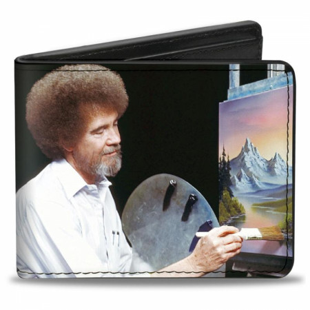Bob Ross Palette Painting Pose with Autograph Bi-Fold Wallet