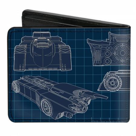 Batman Batmobile Blueprints Bi-Fold Wallet
